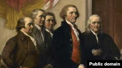 Komite a nan senk prezante travay yo, bouyon an premye nan Deklarasyon Endepandans lan, nan mwa jen 1776, ki soti nan 1819 penti John Trumbull la.