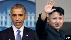 바락 오바마 미국 대통령(왼쪽)과 김정은 북한 국방위원회 제1위원장 (자료사진)