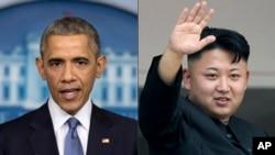 바락 오바마 미국 대통령과 김정은 북한 국방위원회 제1위원장 (자료사진)