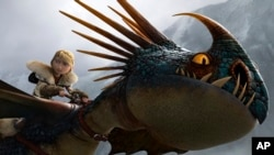 "Adegan dari film DreamWorks Animation ""Hot To Train Your Dragon 2."" (AP/DreamWorks Animation)"