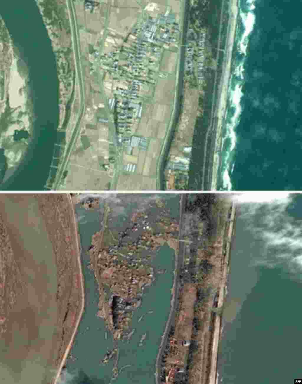 """Redaktionshinweis: Nur zur redaktionellen, kostenfreien Verwendung und ausschliesslich bei Nennung der Quelle """"Foto: Google/DigitalGlobe"""" +++ Eine Satellitenbild-Kombo zeigt oben den Ort Terashima im Nordosten von Japan, aufgenommen im Jahr 2003 und unten"""