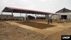 유엔개발계획, UNDP가 북한 내 식량안보 사업의 일환으로 제공한 시설에서 수확한 곡물을 건조하고 있다.