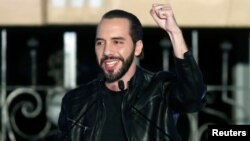 Presidential candidate Nayib Bukele of the Great National Alliance (GANA) gestures to his supporters after official results in downtown San Salvador, El Salvador, Feb. 3, 2019.