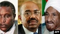 Các ứng cử viên đang dẫn đầu trong cuộc bầu cử tổng thống vòng đầu tại Sudan: (từ trái sang phải) Yasir Arman, Omar al-Beshir và Sadiq al-Mahdi