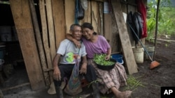 Newlyweds Rosario Cal, 67, and Santiago Suc Lem, 70, pose for a photo while cleaning the greens of a legume known as chipilin, outside their home in the makeshift settlement Nuevo Queja, Guatemala, Sunday, July 11, 2021. (AP Photo/Rodrigo Abd)