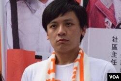 青年新政立法會選舉新界西候選人黃俊傑。(美國之音湯惠芸攝)
