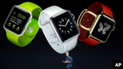 Apple CEO Tim Cook discusses the new Apple Watch in Cupertino, Calif., Sept. 9, 2014.