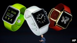Apple CEO Tim Cook discusses the new Apple Watch on Tuesday, Sept. 9, 2014, in Cupertino, Calif. (AP Photo/Marcio Jose Sanchez)