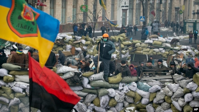 Protesters stand on a barricade in central Kiev, Feb. 1, 2014.