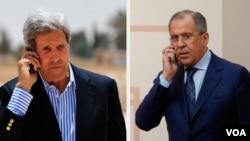 존 케리 장관 미 국무장관(왼쪽)과 세르게이 라브로프 러시아 외무장관이 전화 통화를 갖고 시리아 내전을 휴전하기로 합의한 것으로 알려졌다. (자료사진)