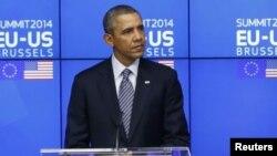 El presidente Barack Obama tomó parte en una cumbre EE.UU-Unión Europea efectuada en Bruselas.