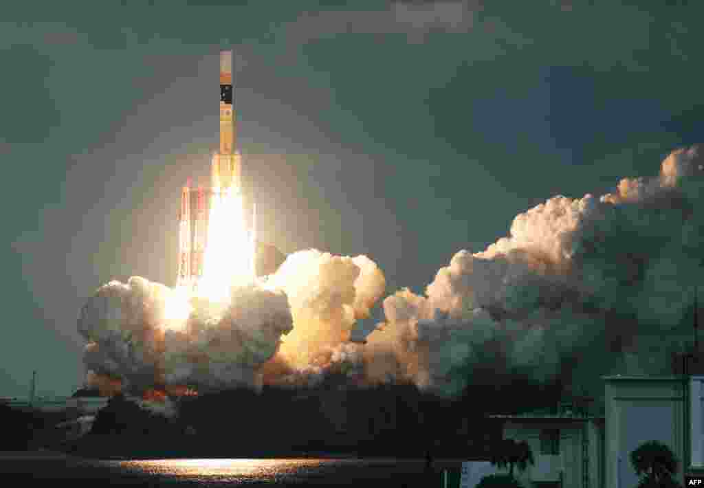 Japan's H-IIA rocket carrying the Kirameki-2 satellite is launched from Tanegashima Space Centre in southern Tanegashima island, Kagoshima prefecture.