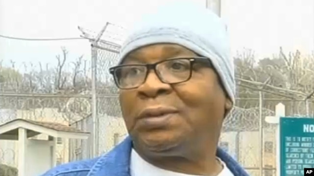 In this frame grab from video provided by WAFB-TV 9, Glenn Ford, 64, talks to the media as he leaves a maximum security prison, March 11, 2014, in Angola, La., after having spent nearly 26 years on death row.