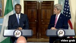 In this screen grab taken from U.S. Department of State, Secretary of State John Kerry (right) and his Nigerian counterpart Geoffrey Onyeama deliver remarks at the State Department in Washington, D.C., March 30, 2016.