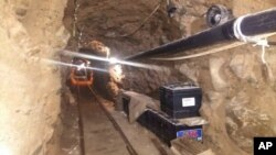 Mexico's Federal Police shows an underground tunnel that police say was built to smuggle drugs from Tijuana, Mexico to San Diego in the United States is one of the longest cross-border tunnels ever found, October 21, 2015.