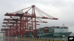 화물선들이 정박해있는 중국 상해항. (자료사진)