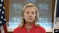 美國國務卿希拉莉.克林頓星期二在華盛頓發表國際宗教自由報告。