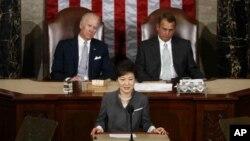 La presidenta surcoreana, Park Geun-hye, habló este miércoles ante una sesión conjunta del congreso estadounidense, presidida por el vicepresidente Joe Biden, y el presidente de la Cámara de Representantes, John Boehner.