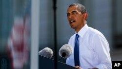 지난 19일 바락 오바마 대통령이 독일 베를린에서 연설하는 모습.