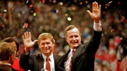 Vice President George Bush, right, and his running mate, Indiana Senator Dan Quayle, at the Republican National Convention in 1988