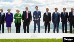 G7 ထိပ္သီးေခါင္းေဆာင္မ်ား ကေနဒါတြင္ ေတြ႔ဆံုၾကစဥ္။ (ဇြန္ ၈၊ ၂၀၁၈)