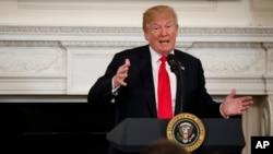 Donald Trump lors d'un discours face aux membres de l'Association nationale des gouverneurs à la Maison Blanche, le 26 février 2018.