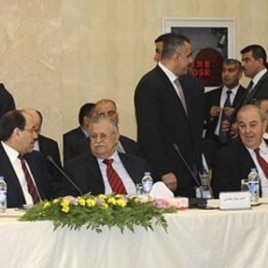 Leaders of Iraq's main political blocs, are seen during their meeting in Irbil, a city in the Kurdish controlled north, north of Baghdad, Iraq (File Photo - 08 Nov 2010)