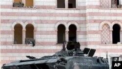 敘利亞城市阿勒頗戰鬥後留下的破壞