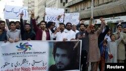 نقیب اللہ کے قتل کے خلاف کراچی میں ہونے والے ایک مظاہرے کا منظر