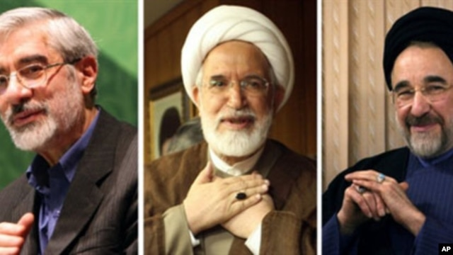 (L-R) Iranian opposition leaders: Mir Hossein Mousavi, Mehdi Karroubi and Mohammad Khatami (2009 file photo)