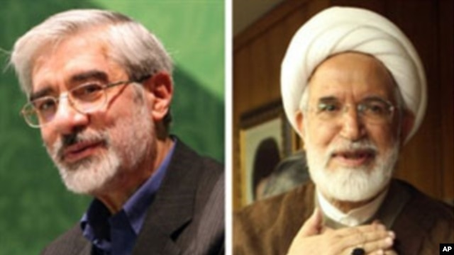 The U.S. State Department calls for the release of Mehdi Karroubi (R) and Mir Hossein Mousavi, (L), both candidates in the 2009 presidential election, and Mousavi's wife, women's rights advocate Zahra Rahnavard, held under house arrest without charge.