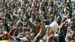 Anti-government protesters in Tahrir Square in Cairo on Friday