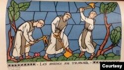 Tranh vẽ các tu sĩ đan viện Xi-tô, hoạ sĩ Roger Bréval vẽ năm 1919. (Bộ sưu tập đại học Western Michigan University)