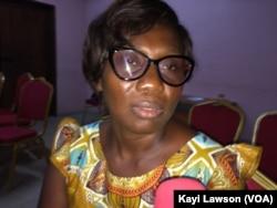 Edwige GBédey, présidente de l'Association AVeG à Lomé, Togo, le 30 avril 2018. (VOA/Kayi Lawson)