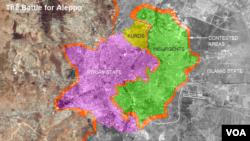 نقشه شهر حلب در شمال سوریه کگه بین نیروهای دولت بشار اسد، گروه های مخالف او، و نیروهای کرد تقسیم شده است