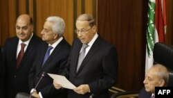 Newly-elected President Michel Aoun (C) gives a speech he takes an oath at the Lebanese parliament in downtown Beirut, Oct. 31, 2016.
