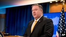 Sekretaris Negara Mike Pompeo dalam konferensi pers di Departemen Luar Negeri, Washington, D.C., 1 Februari 2019.