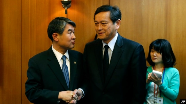 Japan's Vice Minister for Foreign Affairs Akitaka Saiki, right, shakes hands with his South Korean counterpart Cho Tae-yong before their meeting at the Foreign Ministry in Seoul, Wednesday, March 12, 2014.