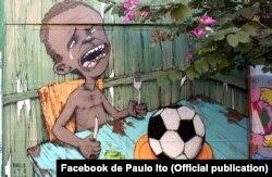 Paulo Ito pintou na parede de uma escola em SP o sentimento de muitos brasileiros em relação ao Mundial
