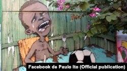 Pintura de Paulo Ito, evento Pompeia, Brasil. Numa imagem Paulo Ito descreve o sofrimento do povo brasileiro, anfitrião do Mundial de Futebol 2014
