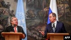 ကုလသမဂၢအတြင္းေရးမွဴးခ်ဳပ္ Antonio Guterres နဲ႔ ႐ုရွားႏိုင္ငံျခားေရးဝန္ႀကီးSergey Lavrov တို႔ ၂၀၁၈ ဇြန္လတုန္းက ေတြ႔ဆံုစဥ္