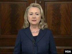 美国国务卿克林顿(美国之音视频截图)