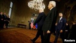 Президент США Дональд Трамп и президент Италии Серджо Маттарела (архивное фото)