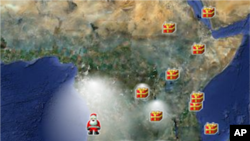 This Google map created by NORAD shows Santa over West Africa as he moves around the globe.