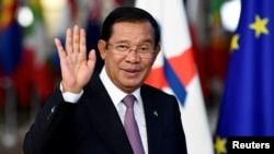 FILE: Cambodia's Prime Minister Hun Sen arrives at the ASEM leaders summit in Brussels, Belgium October 18, 2018. (REUTERS)