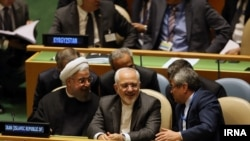 روحانی رئیس جمهوری ایران و جواد ظریف در سازمان ملل