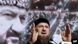 Le président tchétchène Ramzan Kadyrov lors d'un discours à Grozny, en Russie, e 10 mai 2019.
