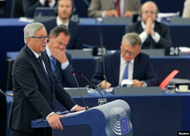 European Commission President Jean-Claude Juncker addresses the European Parliament in Strasbourg, France, Sept. 9, 2015.