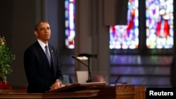 U.S. President Barack Obama speaks during an interfaith memorial service at the Cathedral of the Holy Cross, for the victims of the Boston Marathon bombing in Boston, April 18, 2013.