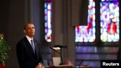 Predsednik Obama govori na medjuverskoj komemorativnoj službi u bostonskoj Katedrali svetog krsta.